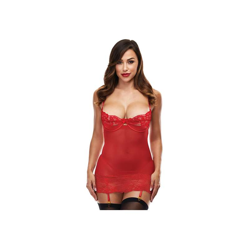 OPEN CUP CHEMISE WITH GARTERS ROJO