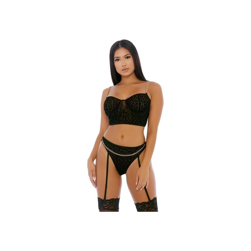 CHAIN ME UP BUSTIER SET NEGRO